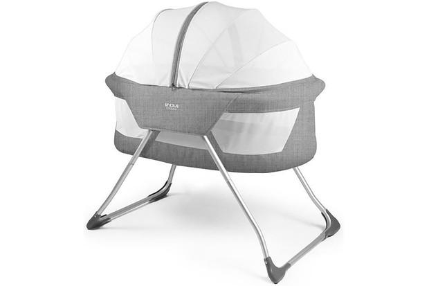 Inovi Cocoon Folding Moses Crib Travel Cot Grey