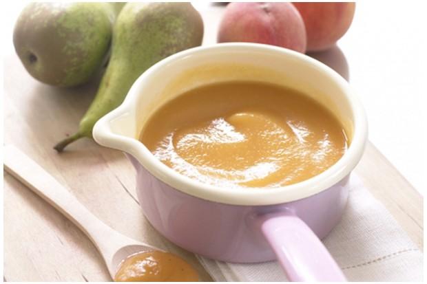 Peach, apple and pear puree