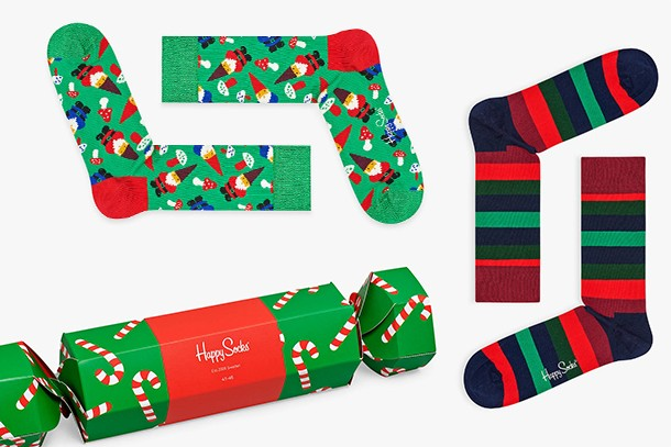 happy cracker christmas socks