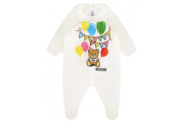 moschino welcome home baby grow