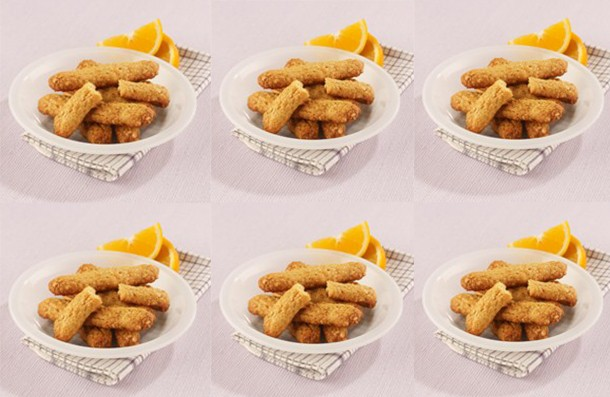 Vegetarian chewy oat and orange fingers for babies from 12 months