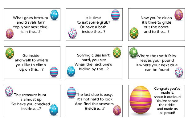 image regarding Printable Easter Egg Hunt Clues named 25 Easter egg hunt clues, tips and actions for small children 2019