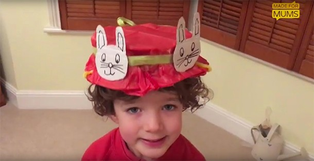 easter bonnet with bunnies