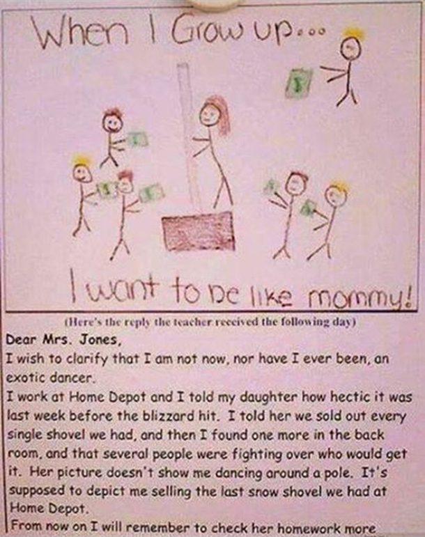 Little Girl Drew Her Mums Job And Gave Teacher The Wrong Idea Jpg 620x413 Exotic Dancer