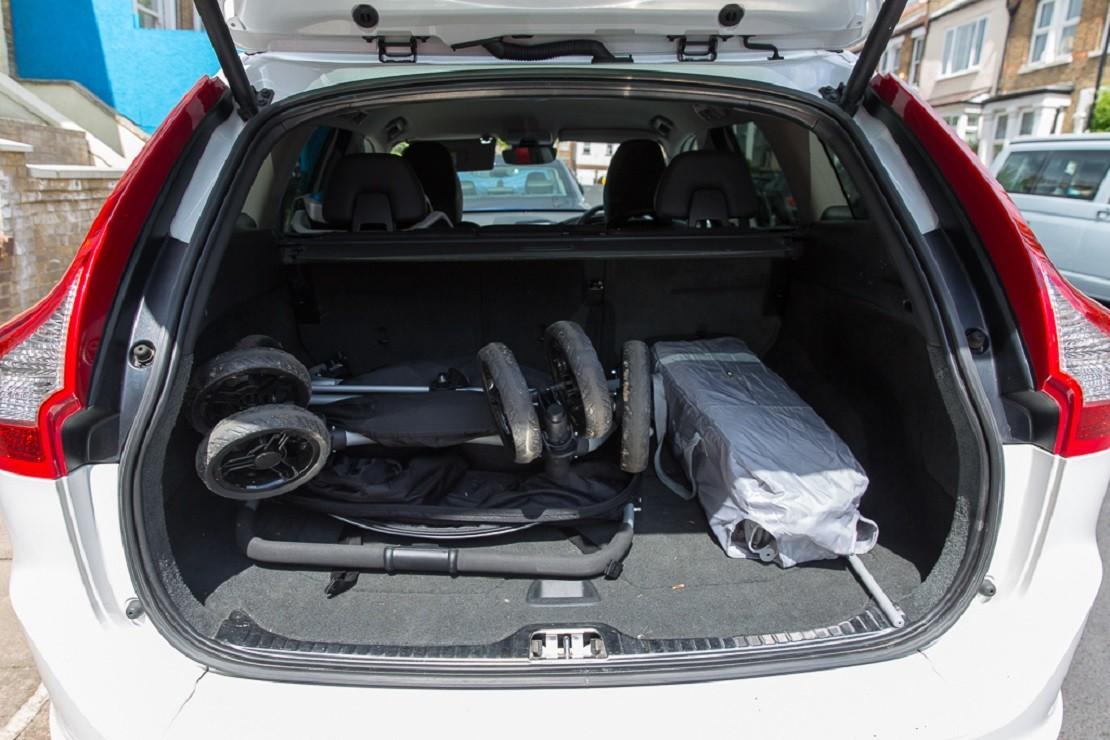 Red Kite Push Me Twini in car boot