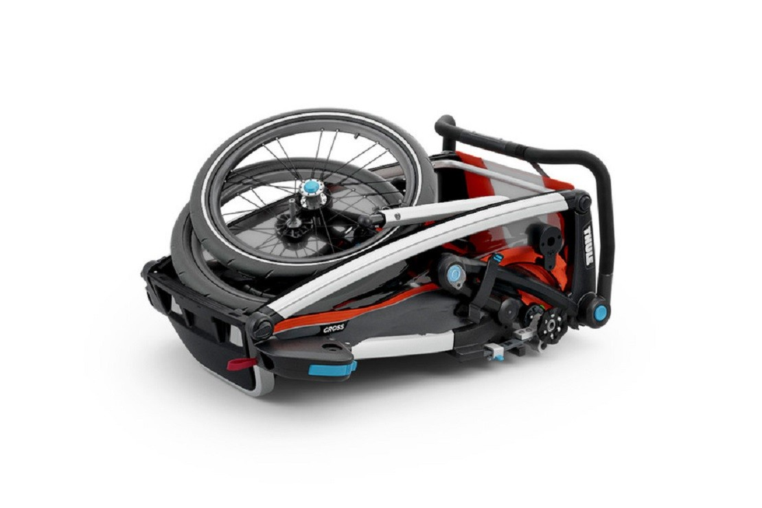 Thule Chariot Cross folds compactly for stowing in a car boot