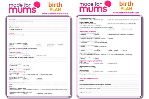 Writing A Birth Plan Birth Plan Template Madeformums