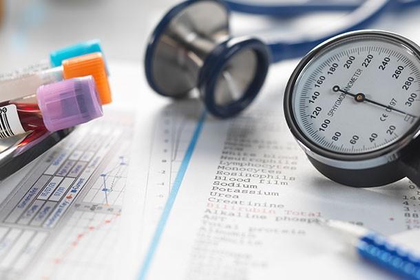 blood pressure gauge and blood phials