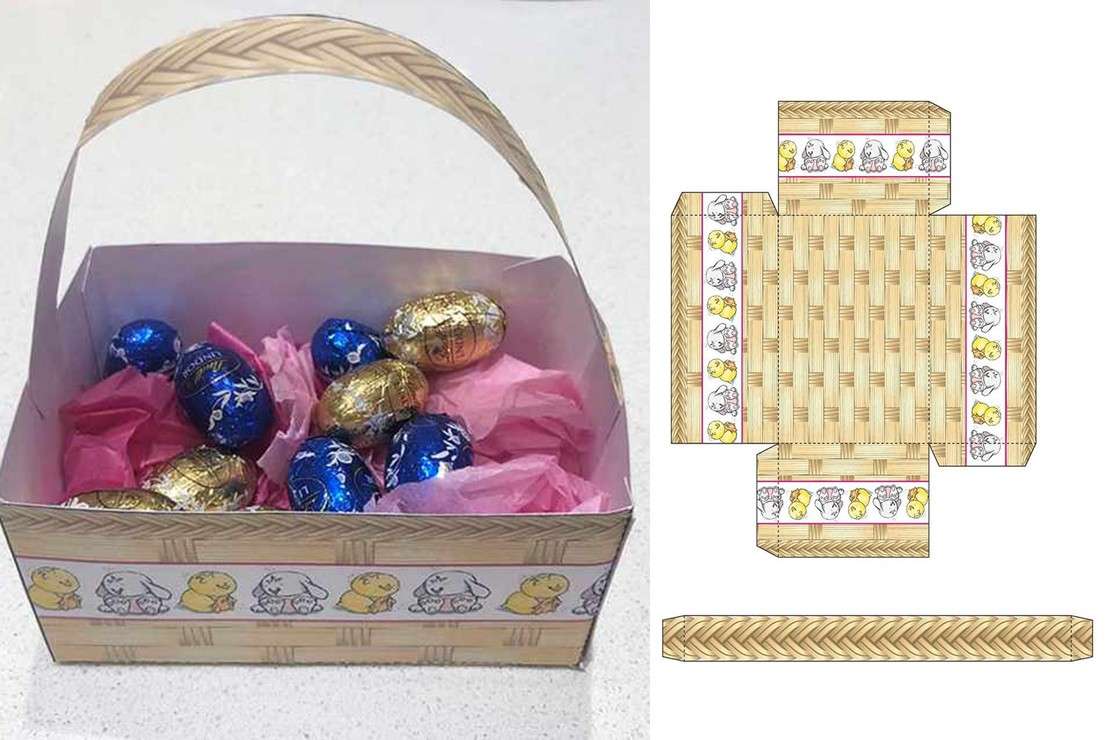 Template and completed easter basket