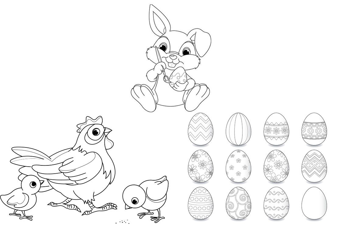 Bunny, Egg And Chicks Easter Colouring Sheets For Kids - MadeForMums