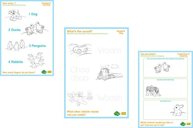 Activity sheets: counting, talking and creativity for