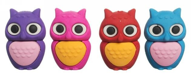 WHSmith Owl Erasers (Pack of 4)