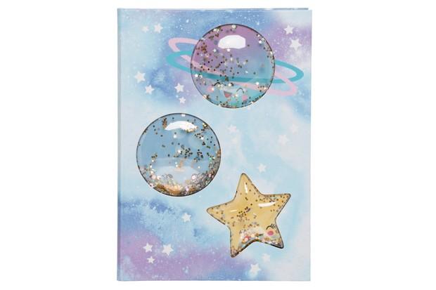 WHSmith Sparkle Pop Stars and Moon Glitter Shake A5 Notebook