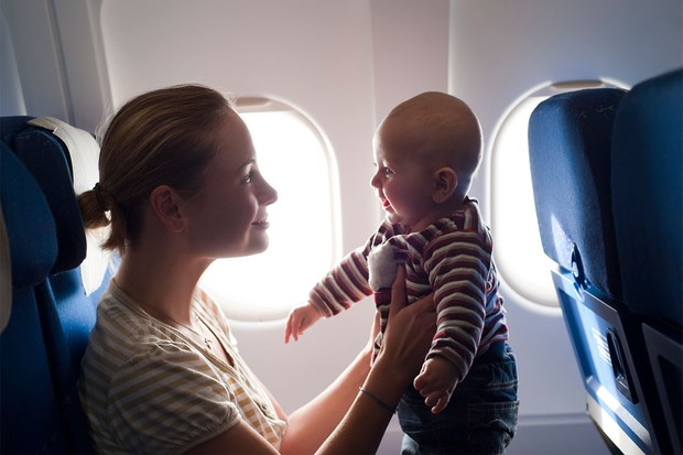 mum and baby on a plane