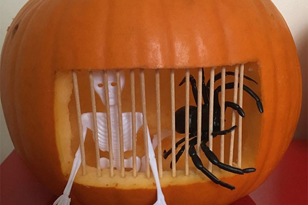 spooky jail pumpkin