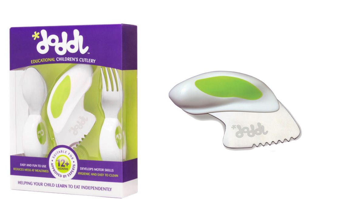 Toddlers /& Babies 12 Months + Lime Green Doddl Cutlery Set for Children 2 Piece Spoon /& Fork Cutlery Set Ergonomically Designed to Promote Self-Feeding in The Right Way