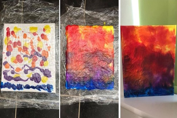 clingfilm toddler painting