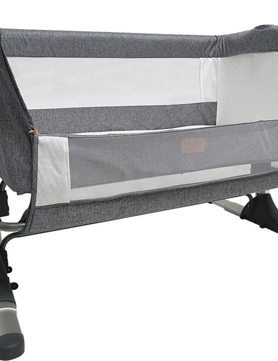 Venture hush bedside crib PR shot side down