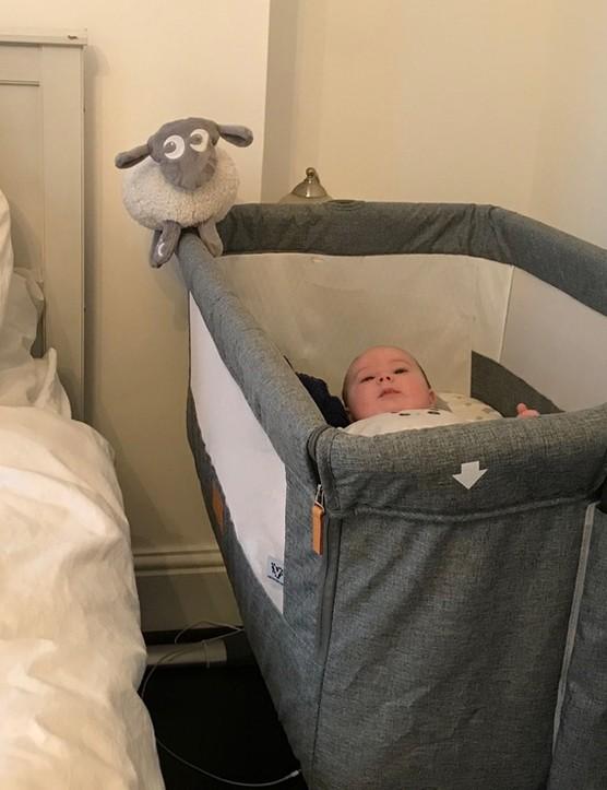 Venture hush crib next to parent bed