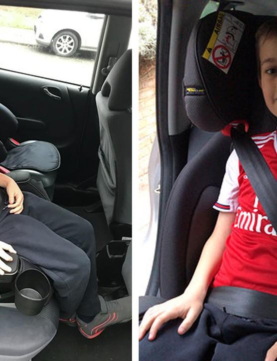 boy in graco car seat