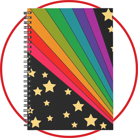 Stars and Rainbow Spiral Notebook