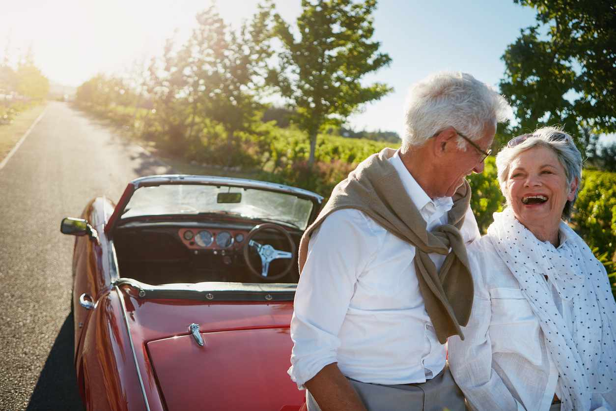 Shot of a senior couple going on a road trip