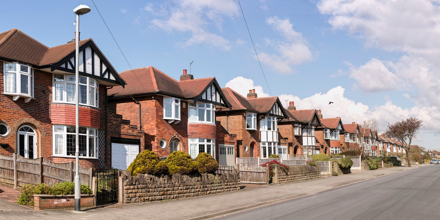 English suburban houses in the suburbs of a city, United Kingdom.