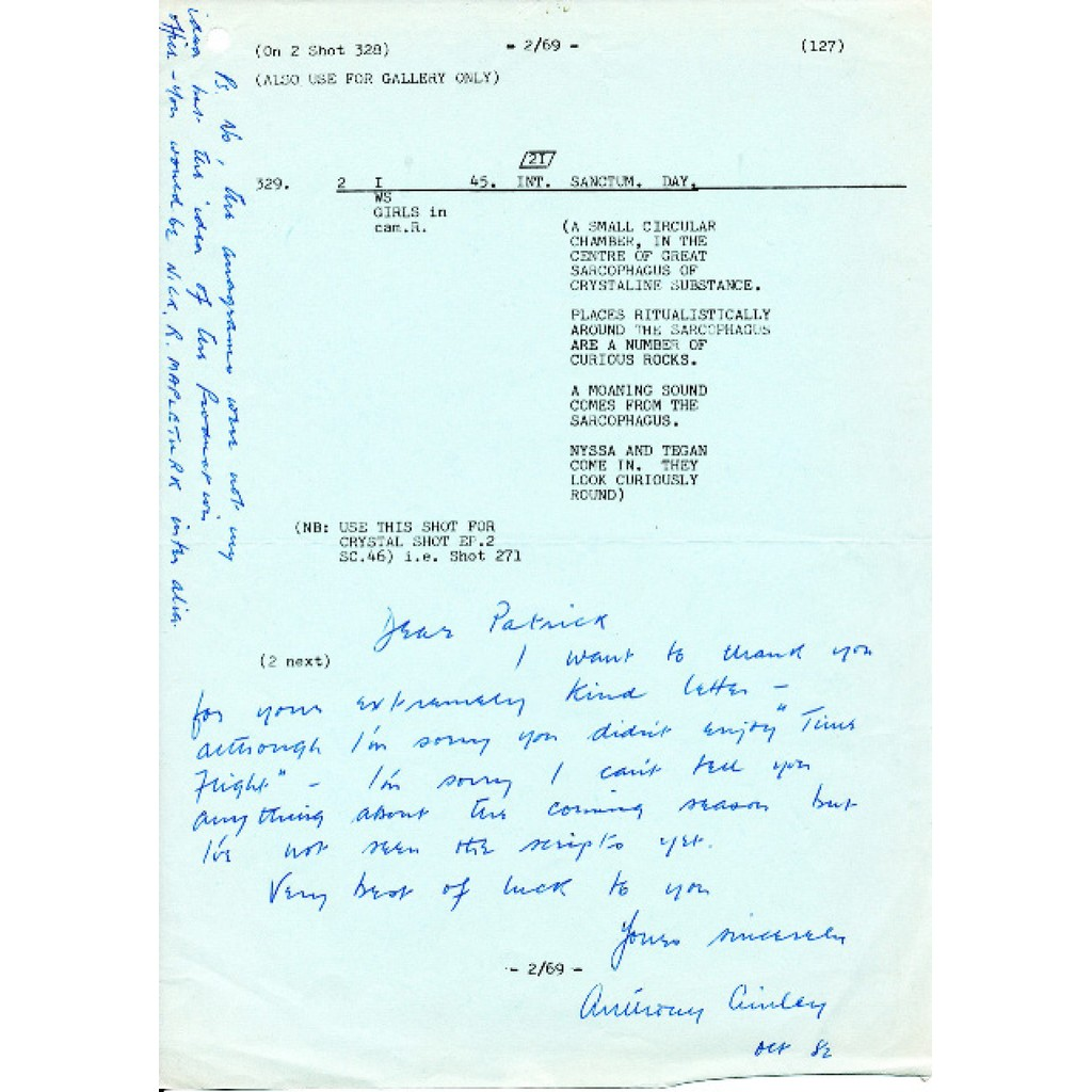 Anthony Ainley letter 1982