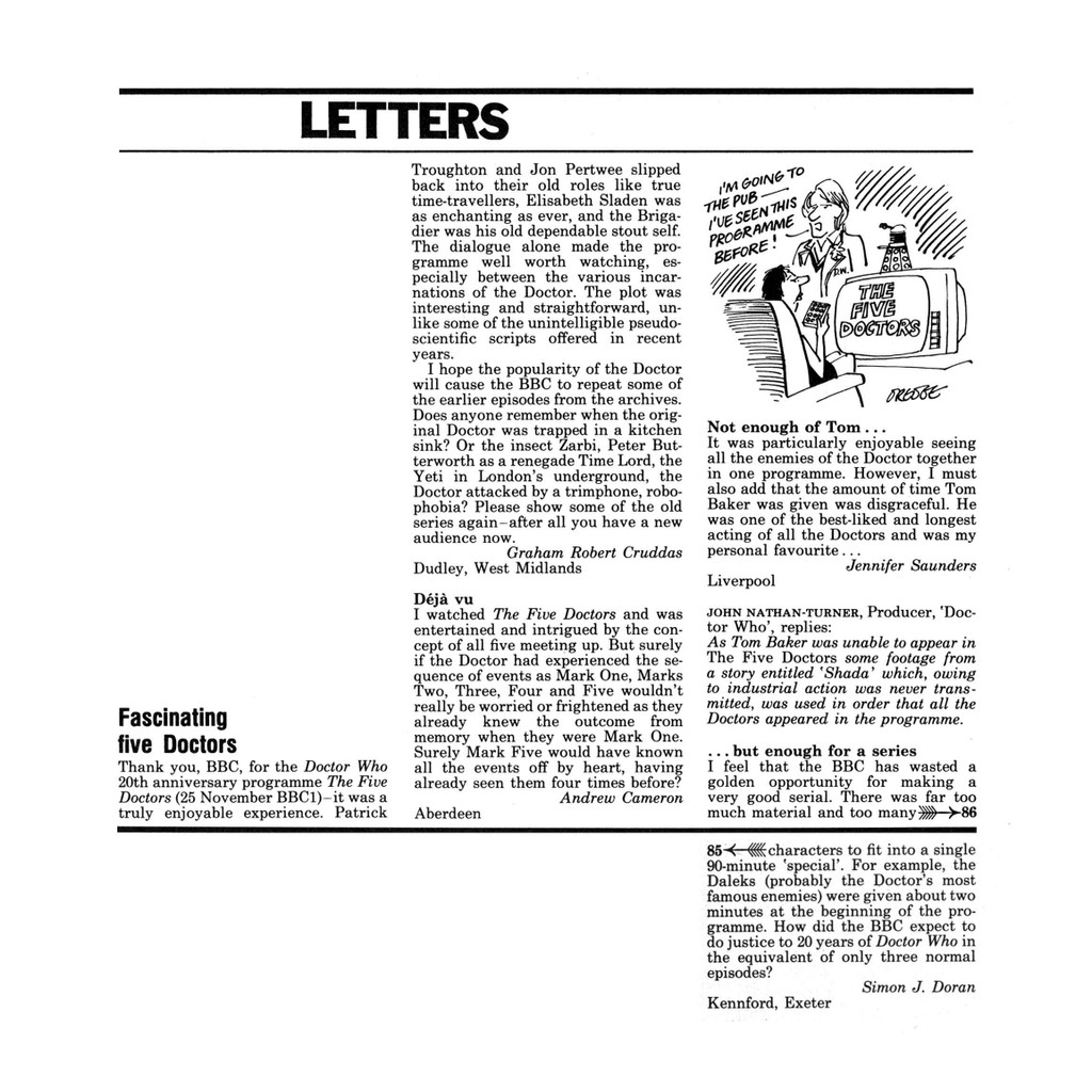The Five Doctors RT letters