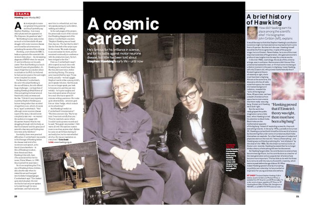 Stephen Hawking with Benedict Cumberbatch in Radio Times in 2004