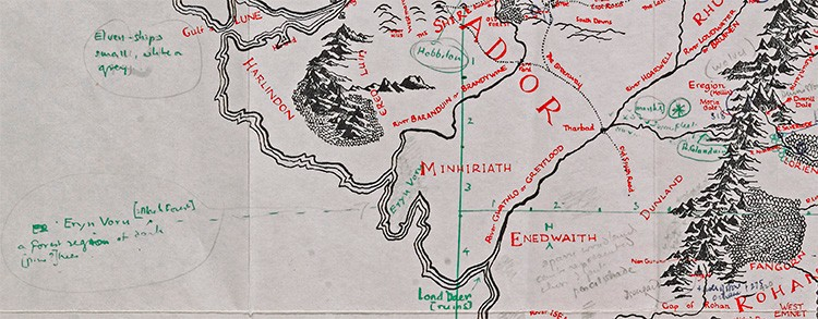 Rare JRR Tolkien Middle-earth Lord of the Rings map goes on ... Map Middle Earth on mirkwood map, frodo baggins, rohan map, the lord of the rings, bilbo's map, hobbit map, the hobbit, j. r. r. tolkien, the shire map, rivendell map, tolkien map, dol guldur map, mordor map, beleriand map, silmarillion map, moria map, wheel of time map, gundabad map, gondor map, minas tirith map, eriador map, lord of the rings map, star trek map,