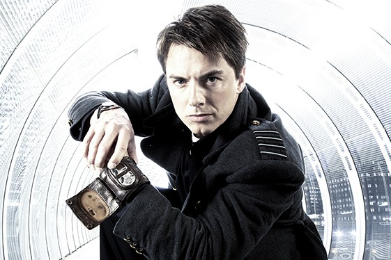 John Barrowman as Captain Jack Harkness using the vortex manipulator