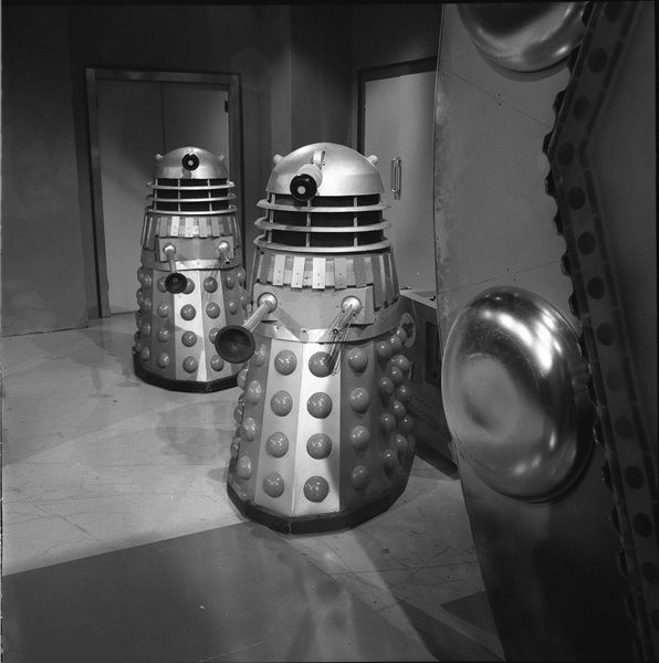 Don Smith's final shot of the Daleks from a different angle. Shot number RT 3700 70.