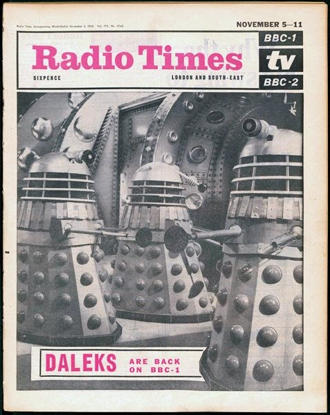 Radio Times cover for the week 5-11 November 1966 with a composite image of Don Smith's Dalek photos. Episode one of The Power of the Daleks was shown on Saturday 5 November, only two weeks after Don was on set for the studio recording.