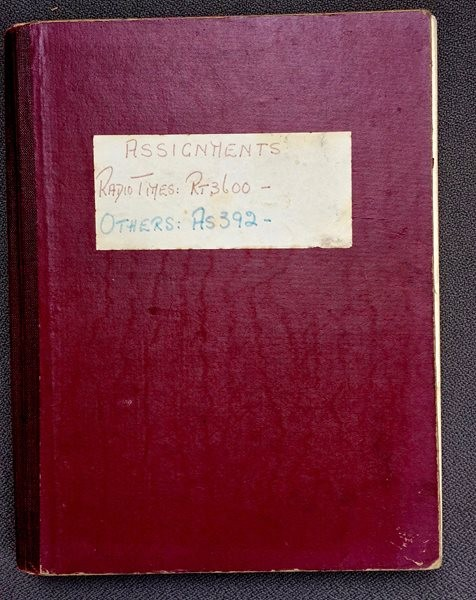 One of the original Radio Times ledgers for photographer assignments