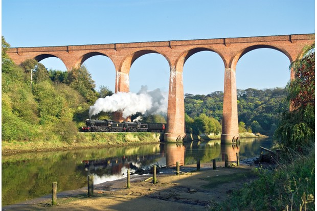 The North York Moors Railway chugs under the viaduct from Whitby