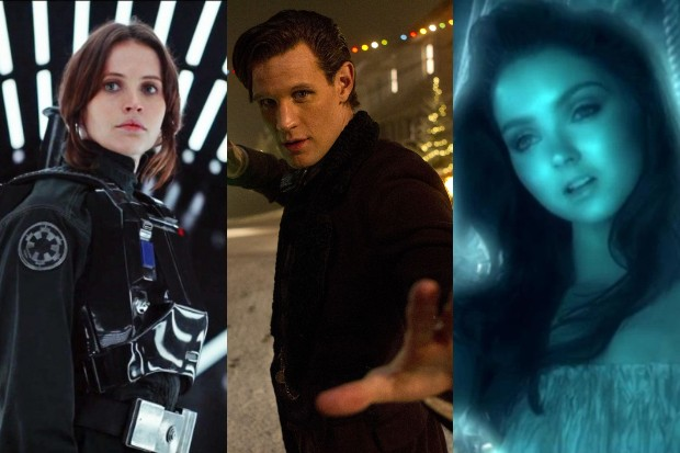 Felicity Jones in Rogue One with Doctor Who's Matt Smith and Lily Cole (LucasFilm, BBC, HF)