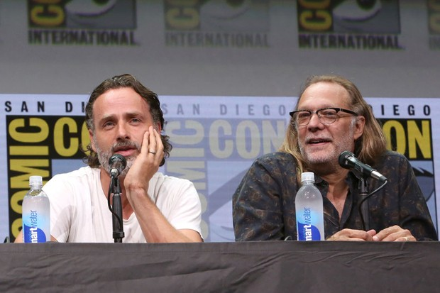 """from """"The Walking Dead"""" at the Hall H panel with AMC at San Diego Comic-Con International 2017 at the San Diego Convention Center on July 21, 2017 in San Diego, California."""