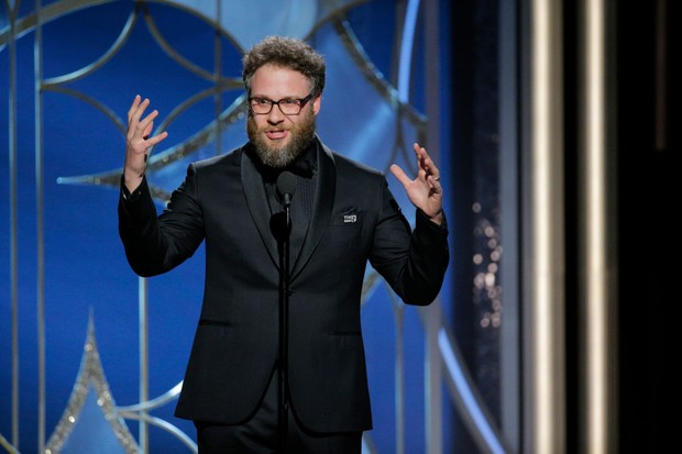 BEVERLY HILLS, CA - JANUARY 07:  In this handout photo provided by NBCUniversal,  Actor Seth Rogen speaks onstage during the 75th Annual Golden Globe Awards at The Beverly Hilton Hotel on January 7, 2018 in Beverly Hills, California.  (Photo by Paul Drinkwater/NBCUniversal via Getty Images)
