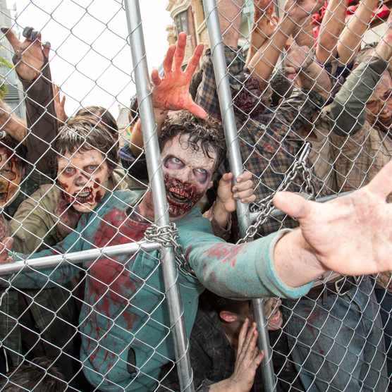 "UNIVERSAL CITY, CA - JUNE 28: A view of the new Walking Dead attraction 'Don't Open, Dead Inside' at the Press Event For ""The Walking Dead"" Attraction ""Don't Open, Dead Inside"" at Universal Studios Hollywood on June 28, 2016 in Universal City, California. (Photo by Michael Boardman/WireImage)"