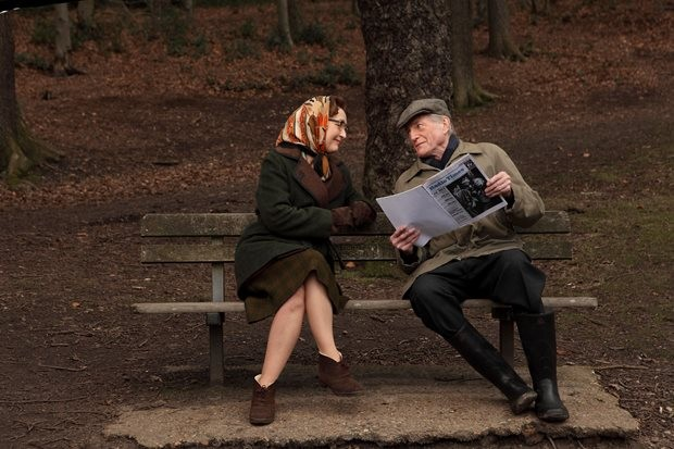 Lesley Manville as Heather Hartnell and David Bradley as William Hartnell on Wimbledon Common.