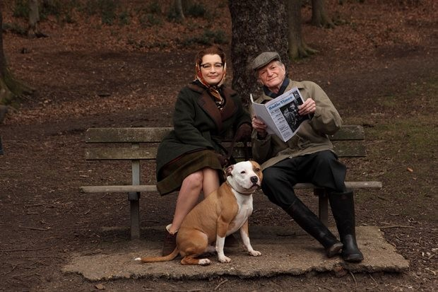 Lesley Manville and David Bradley are joined by Bailey (as Stumpy the dog)