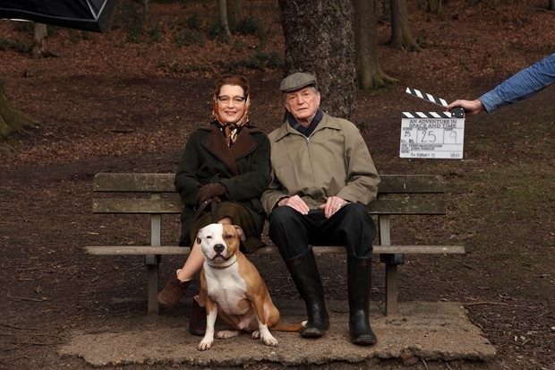 Scene 25. Take 9. Lesley Manville, David Bradley and Bailey are ready for action!
