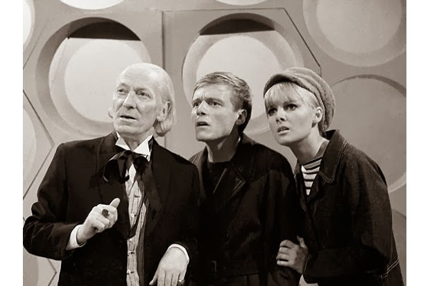 William Hartnell, Michael Craze and Anneke Wills as the Doctor, Ben and Polly