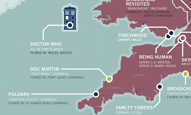 Broadchurch England Map Incredible TV location map of the UK, featuring Doctor Who