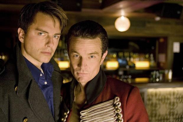 John Barrowman as Captain Jack and James Marsters as Captain John in Torchwood