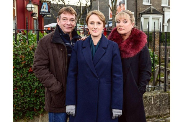 Jenna Russell (centre) as the recast Michelle Fowler, with Adam Woodyatt (left) and Letitia Dean (right)
