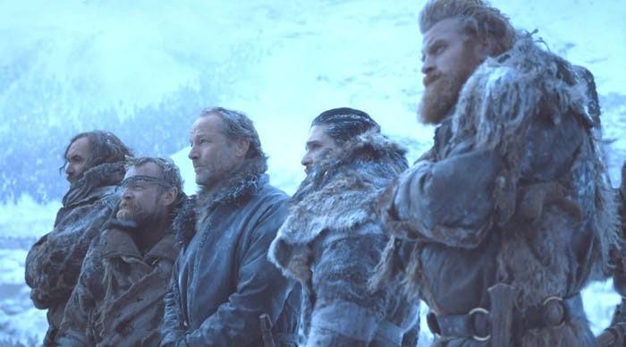 sandor-clegane-beric-dondarrion-jorah-mormont-jon-snow-and-tormund-giantsbane-in-beyond-the-wal