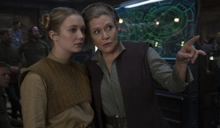 Billie Lourd and Carrie Fisher in Star Wars