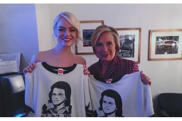 Emma Stone and Hillary Clinton